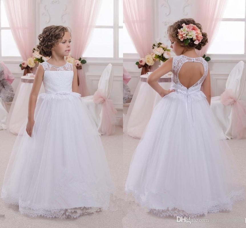 Vestidos de encaje de flores para niñas Vestidos de fiesta con adornos de tul y adornos de tul con adornos de princesa Vestidos de boda para niños