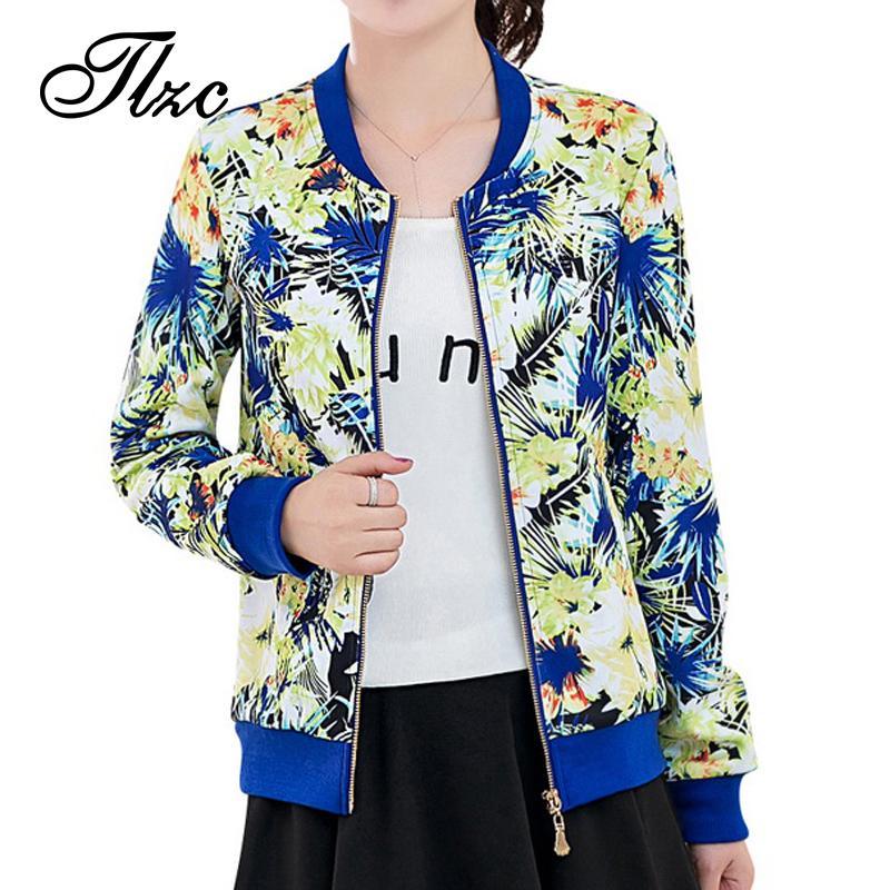 Оптово-TLZC Горячие Продажи Леди Мода Цветочные Пальто Плюс Размер M-4XL Новый Дизайнер Праздничная Одежда Женщины Повседневная Тонкие Куртки