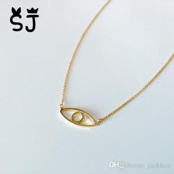 5 STÜCKE Gold Silber Hamsa Hand Evil Eye Halskette Open Line Devil Eye Halsketten Einfache Glücklich Türkische Auge Halskette