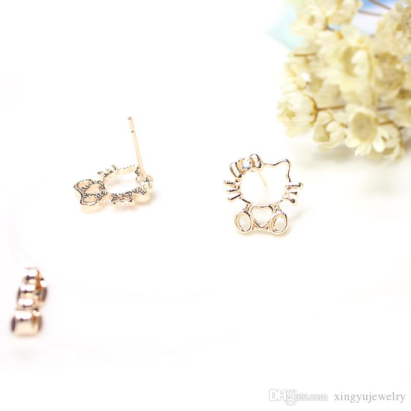 Famous Brand Hello Kitty Stud Earring Children Girl Cute Earrings ...