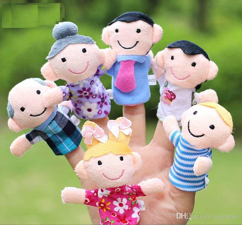 6pcs Family Members Hand Finger Puppets Toys Soft Plush Toy Gifts For Children