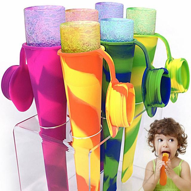 6pcs / 세트 다채로운 실리콘 아이스 팝 메이커 튜브 트레이 아이스 캔티 냉동 아이스크림 요구르트 금형 뚜껑 주방 DIY 도구 어린이 선물