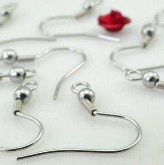 500pcs / Lot all'ingrosso orecchino d'argento monili che trovano i componenti in acciaio inox fili di orecchio gancio ~ con 4mm bead + orecchino a spirale di ricerca diy