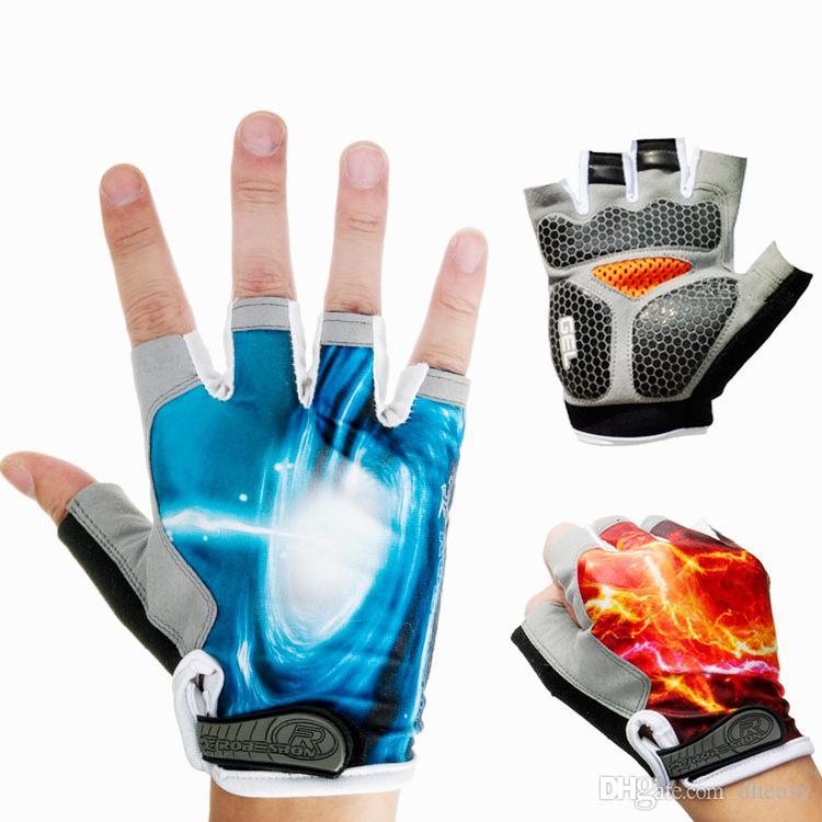 Guantes de ciclismo respirables medio dedo fibra de cuero hombres famale guantes gimnasio MTB montaña alpino deportes al aire libre mitones