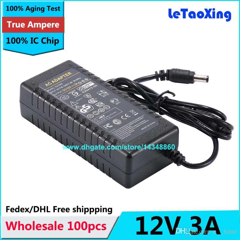 100pcs With IC Chip AC DC 12V 3A Power Supply Adapter 36W Switch For LED Light LCD Monitor CCTV Free shipping High quality
