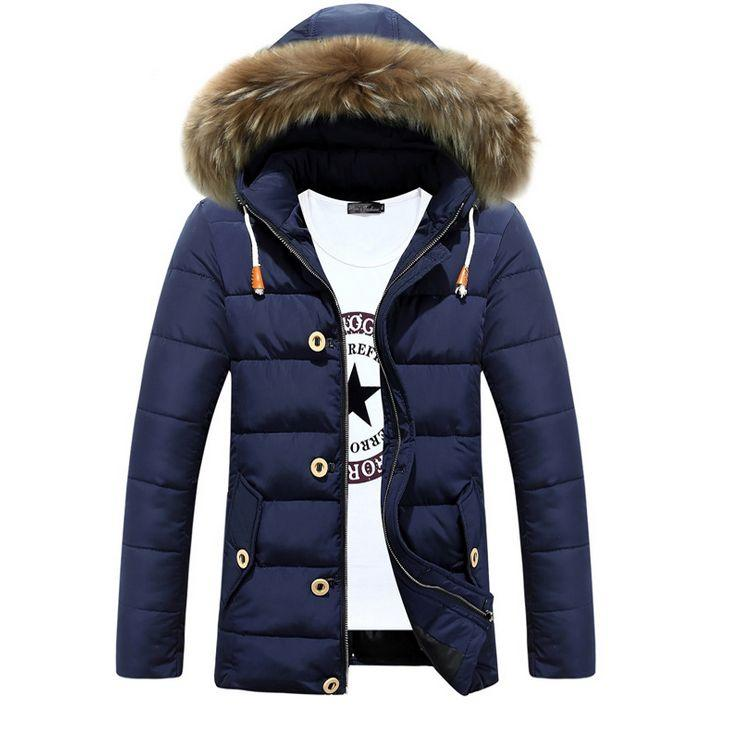 Wholesale- Hot Sale Long Winter Men Clothing Outwear Casual Jacket And Cotton Parkas Male Big Fur collar padded Coat
