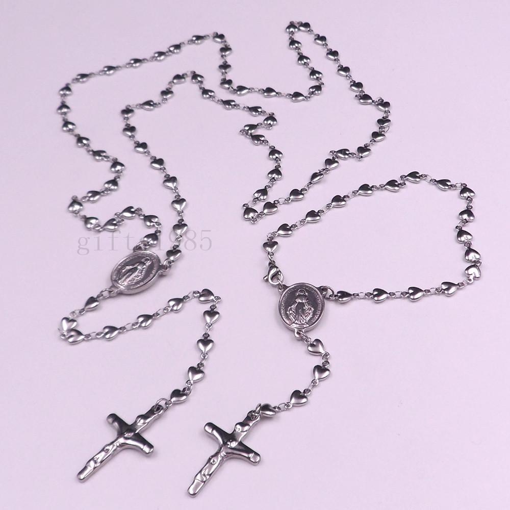스테인레스 스틸 하트 묵주 가톨릭 교회 목걸이 팔찌 패션 매력 세트