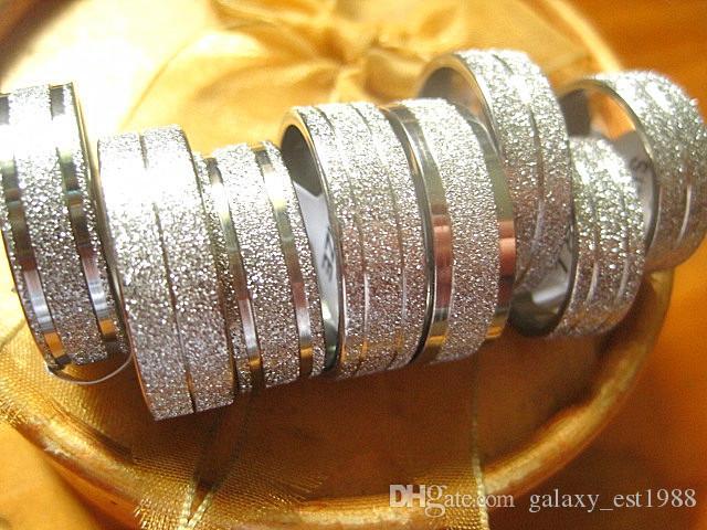 Lots all'ingrosso Lots 36pcs argento 8mm in acciaio inox band gioielli anelli di gioielli nuovo di zecca