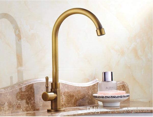 2019 2017 Vintage Brass Kitchen Faucet Bathroom Bronze Faucets Deck Mounted Rotatable Ceramic Valve Single Handle 1 Hole Antique Brass Taps From