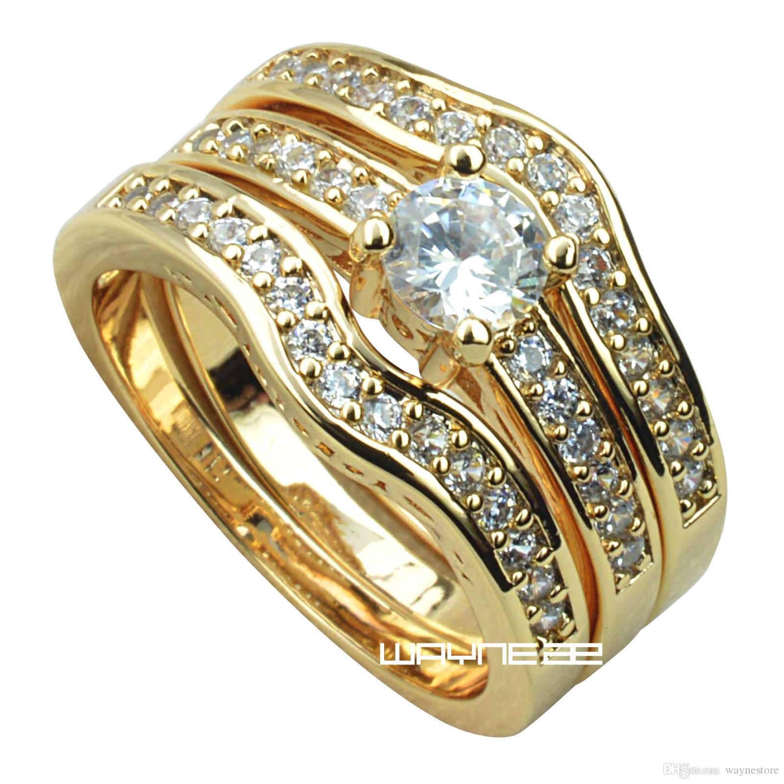 18K żółty złoto Fille Zaręczyny Obrączka Zestawy w / Crystal R179 M-U