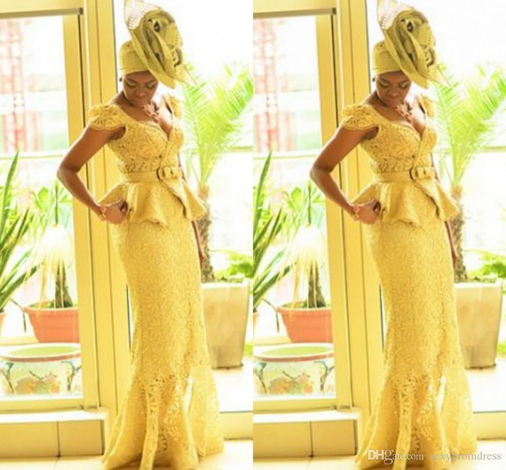 Abiti da ballo per donna africana stile Aso Ebi Abito da sera in pizzo giallo sirena con stampe gialle Trecce Abiti da sera nigeriani Abiti da ballo moda ghanese