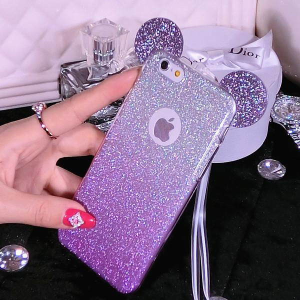 newest f556c 73690 For IPhone 7 Plus Cases Gradient Flash Powder IPhone7 Cases Phone Shell  Apple IPhone 6 Plus Hanging Neck Drop Protection Cover Designer Cell Phone  ...