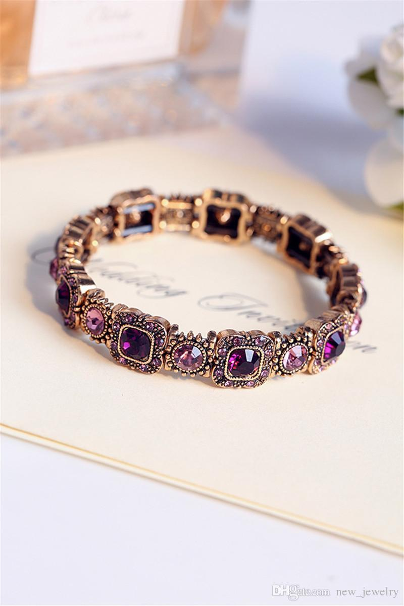 Nieuwe Korea Retro Luxe Paars Diamond Armband Stretch Armband Dames Sieraden Rhinestone Crystal Chains