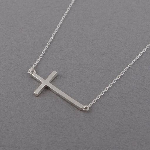 Fashion 18k Gold plated Necklaces silver plated Cross Necklace Pendant Necklace for women gift Free Shipping Wholesale
