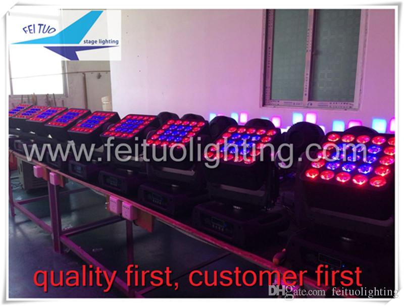 (2 lote / CASE) Matriz de alta Qualidade 5 * 5 Quad LED 25 * 12 W Feixe Moving Head Light Wash Com Caso Flgiht