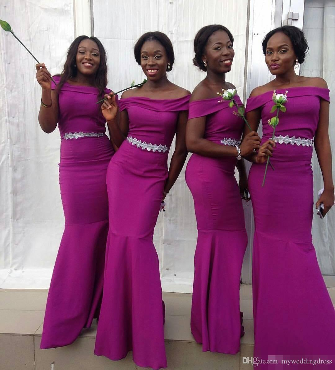 Nigerian Wedding Guest Formal Maid Of Honor Dress Sheath Off ...