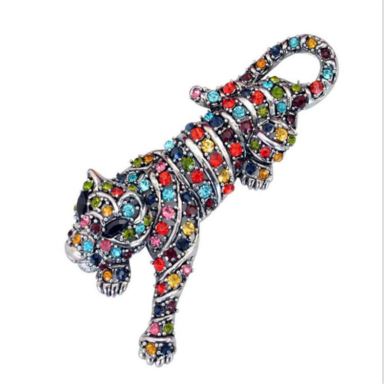 Nova moda feminina 18k flor de ouro enchido austríaco cristal tigre broche presente jóias tamanho grande tamanho100x50 mm