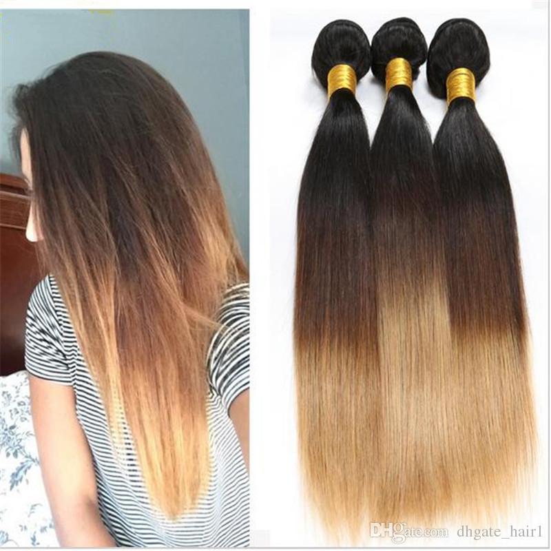 1B 4 27 Honey Blonde Malasia cabello humano teje sedoso recto Virgen malasio 3Bundles tres tonos color Ombre extensiones de cabello Extensiones
