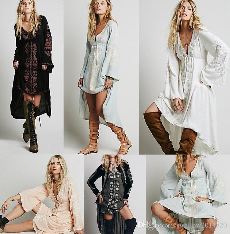 Free shipping Women Vintage Ethnic Flower Embroidered Cotton Tunic Casual Long Dress Hippie Boho People Asymmetric High Low