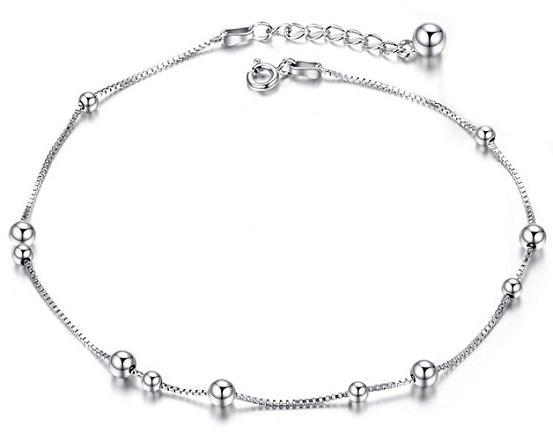 Authetic 925 Sterling Silver Jewelry Bracelets Anklet Chains Woman Ladies White Gold Box Chain Fashion Valentine's Day Christmas Gifts 6 pcs