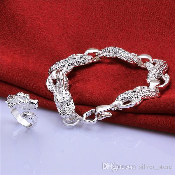 O envio gratuito de prata esterlina 925 conjuntos principais conjuntos de jóias DFMSS755C marca nova fábrica venda casamento prata 925 pulseira anel direta
