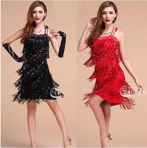 2017 Abiti da ballo latino in vendita Nero / Rosso / Blu / Giallo Tassel Dance Abbigliamento Stage Abito sexy Cha Cha / Samba / Rumba / Tango Dress Skirt