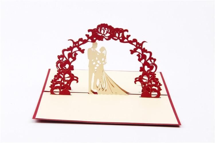 [Hochzeit an Ihrem Tag] Rot 3D Pop UP Greating Papierkarten für Hochzeitstag Geburtstag 10 Sätze / Menge