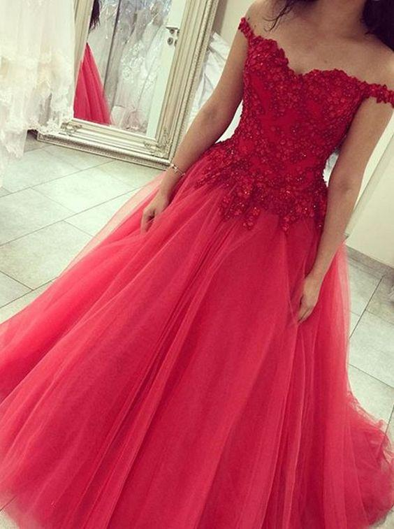 Eye-Catching Red vestido de baile vestidos de baile Sexy querida fora do ombro Backless vestidos de noite Lace apliques Beads Tulle Quinceanera vestidos