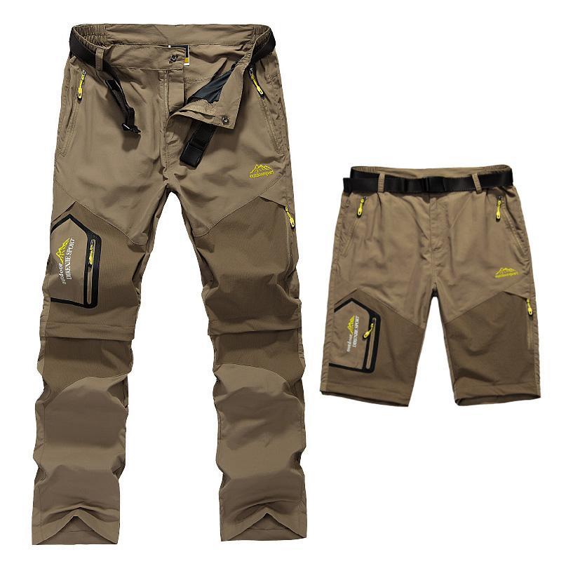 Vente en gros-5XL Hommes d'été rapide Pantalon amovible à sec extérieur Cloting Hommes Shorts Waterproof Hommes randonnée Camping Trekking Pantalons A009