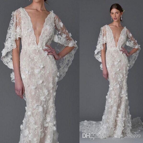 3d Floral Dubai Ayaba Bell Sleeve Mermaid Beach Wedding Dresses