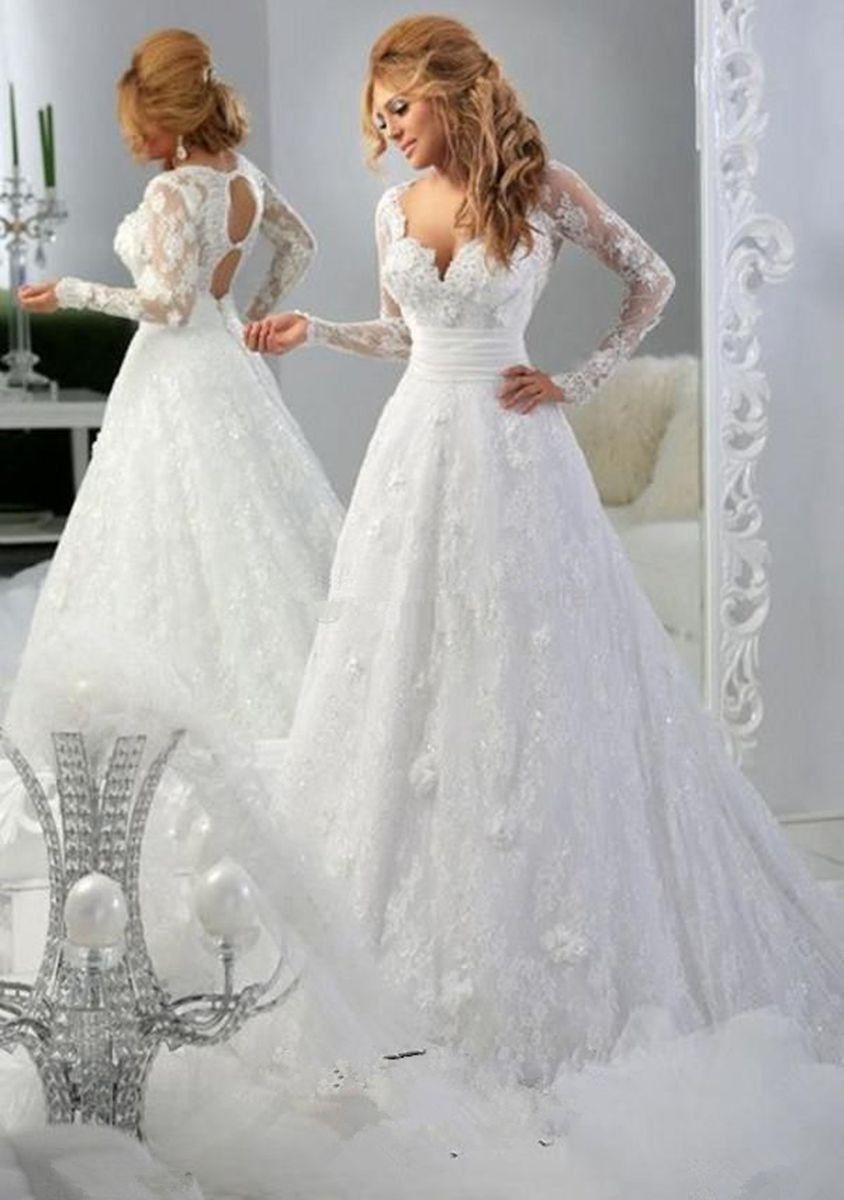 2016 Elfenbein Spitze Vintage Brautkleider Langarm Sexy V-ausschnitt Günstige Brautkleid Mit Applikationen Brautkleider