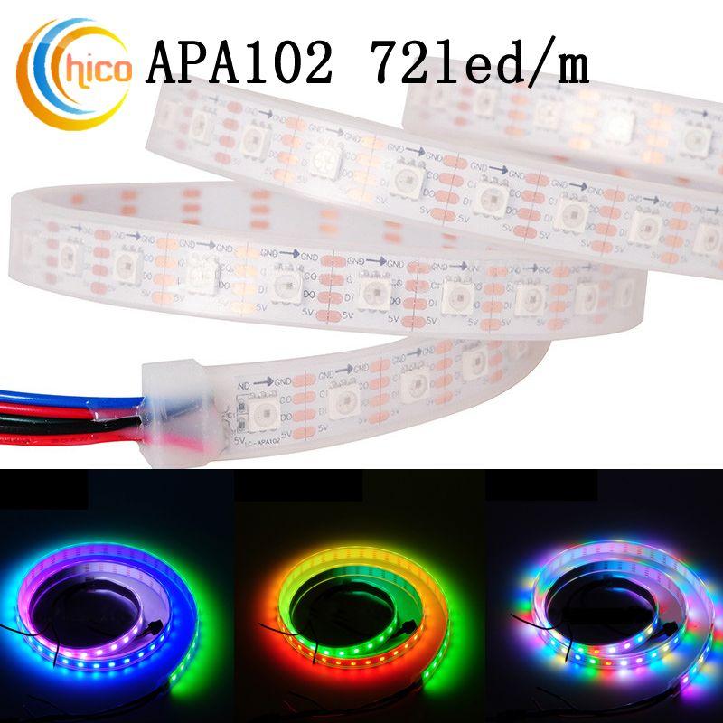 Luzes de tira led rgb APA102 72led / m SMD 5050 tira conduzida levou 5 m À Prova D 'Água IP67 Cor Mutável Efeitos Branco PCB DC5V
