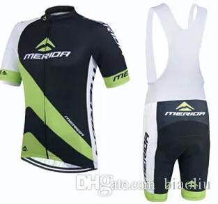 Merida Black Cycling Jersey 반팔 및 사이클링 Bib 반바지 Cycling Kits 자전거 착용 자전거 의류