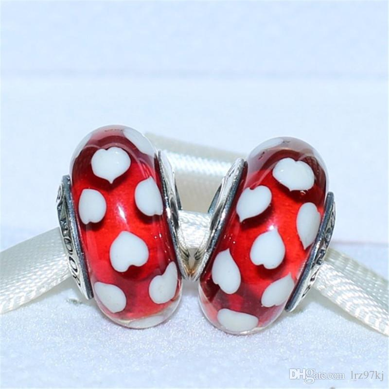 Popular 925 Sterling Silver Blue Flower Pattern Murano Glass Thread Beads Charms