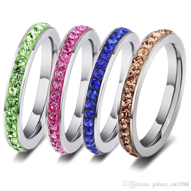 all'ingrosso colori della miscela 36pcs una fila rhinestone dell'argento delle donne dell'acciaio inossidabile lucidato gli anelli dei monili del partito di modo