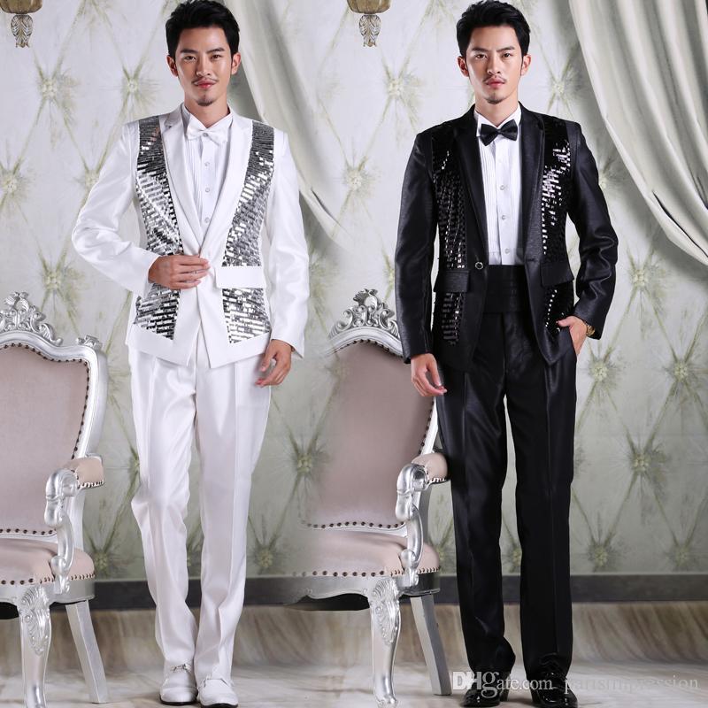 2016 Blanc Noir Costumes De Mariage Pour Hommes Paillettes Hommes Costume Cranté Galles Tuxedos Deux Pièces De Bal Parti Costume (Veste + Pantalon + Cravate)
