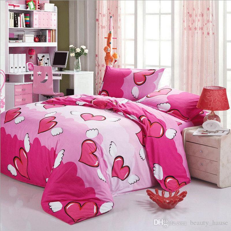 Heart Shaped Reactive Printing Bedding Set Fashion Bed Sheet / Duvet Cover / Pillowcase, 3-4 Pcs Comforter Cover Set Home Textile Gift