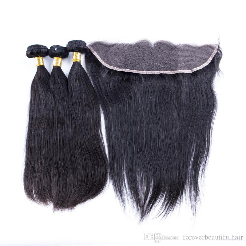 13X4 Dantel Frontal Saç Demetleri Ile Vücut Dalga Brezilyalı Perulu Hint Malezya Virgin İnsan Saç Örgüleri Kapatma Doğal Siyah Renk 4 adet