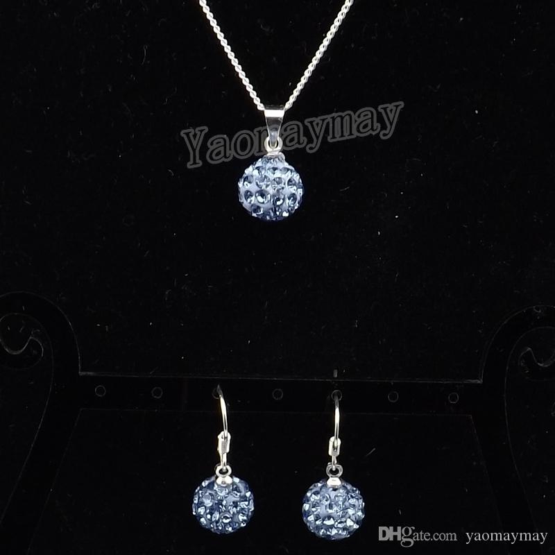 New Arrive Light Blue Disco Ball Pendant Earrings And Silver Plated Necklace Crystal Jewelry Set 10 Sets Wholesale
