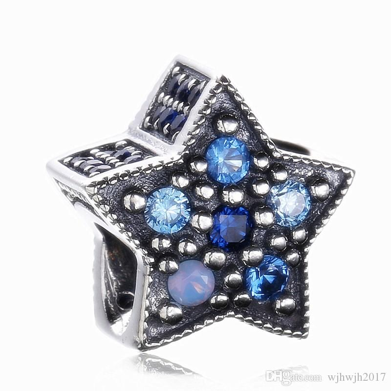 New Wishing Star Charms Bead 925 Sterling Silver Christmas Pave Blue Crystal Beads For DIY Brand Bracelets Fine Jewelry Making
