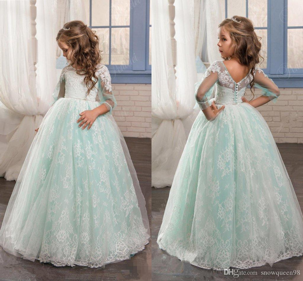 Vintage Mint Sage Floral Lace 2017 Flower Girl Dresses Long Sleeves