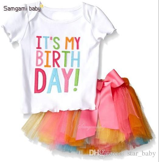 Girl INS Letters Bowknot Lace Rainbow Skirt Suit New Children Fashion Cartoon Short Sleeve T-shirt + Short Skirt 2 pcs Set Suits K7686