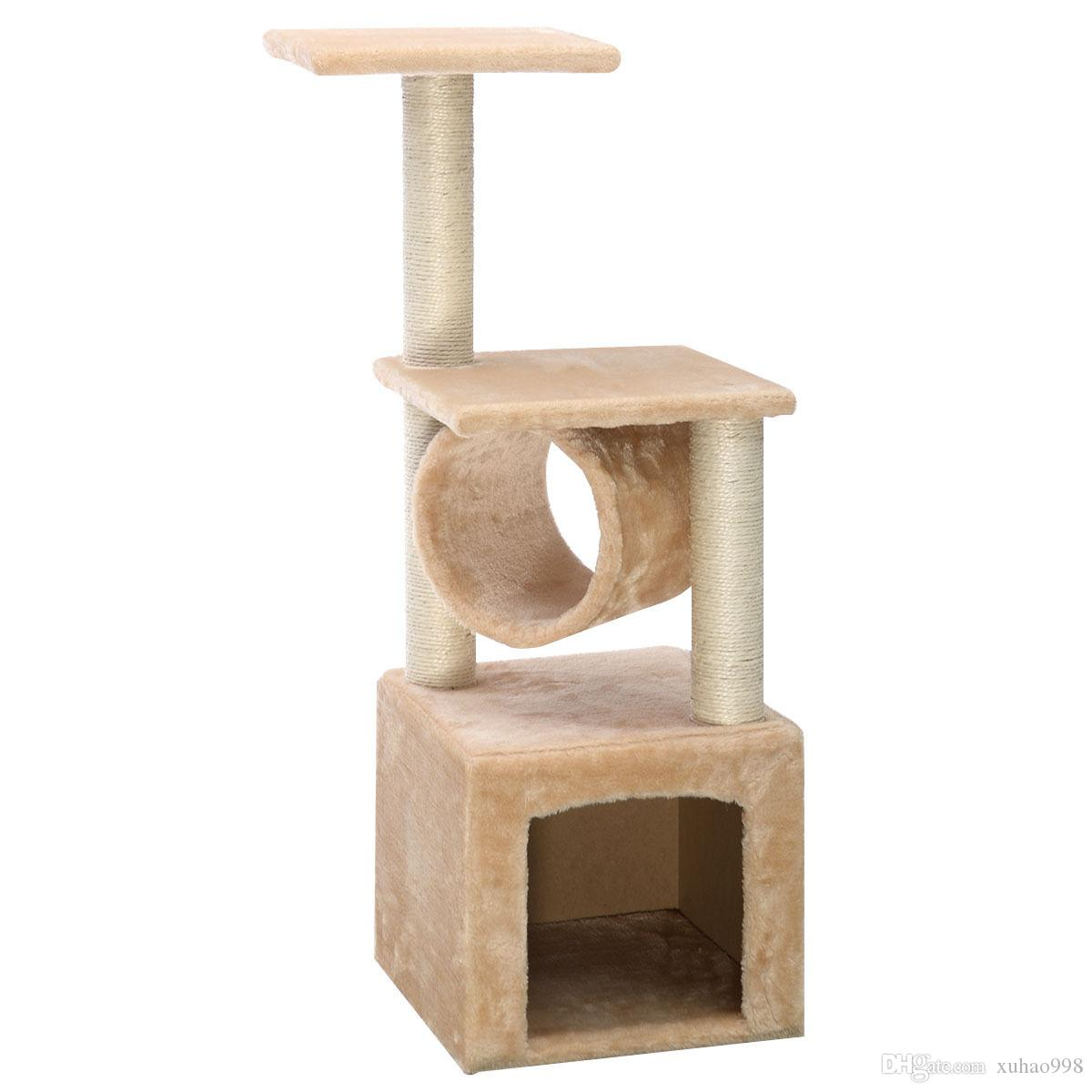 "Deluxe 36"" Cat Tree Condo Furniture Play Toy Scratch Post Kitten Pet House Beige"