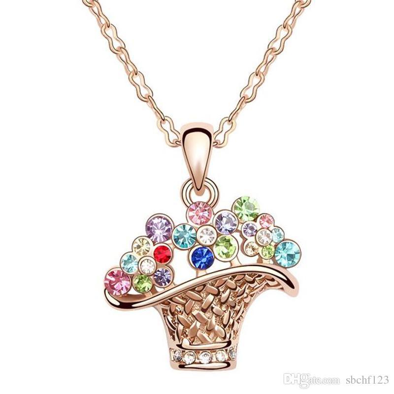 Charme kostuum sieraden accessoires voor vrouwen merk design rose goud gevuld kristal hanger mode ketting 4 kleuren gratis verzending 5214