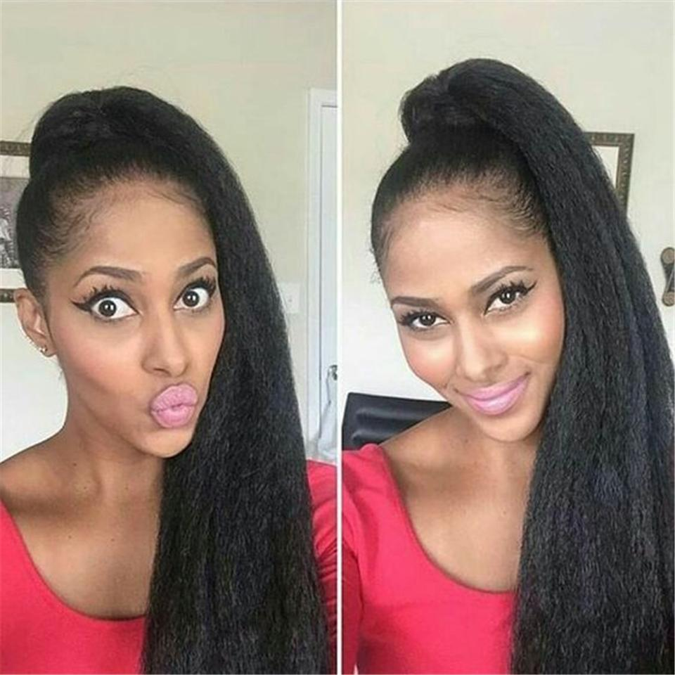 Sales Big Promotion Human hair wigs natural color yaki straight brazilian full lace wigs & front lace wigs with natural hairline