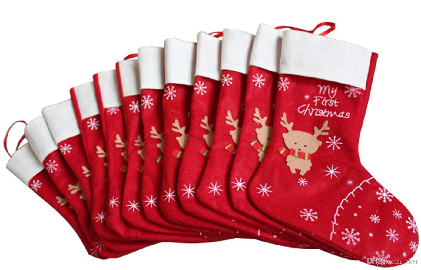 cker Merry Christmas red my First Christmas tree stand Hanging 11.8x13.7 inch Christmas deer socks Gift party decor(pack of 4)