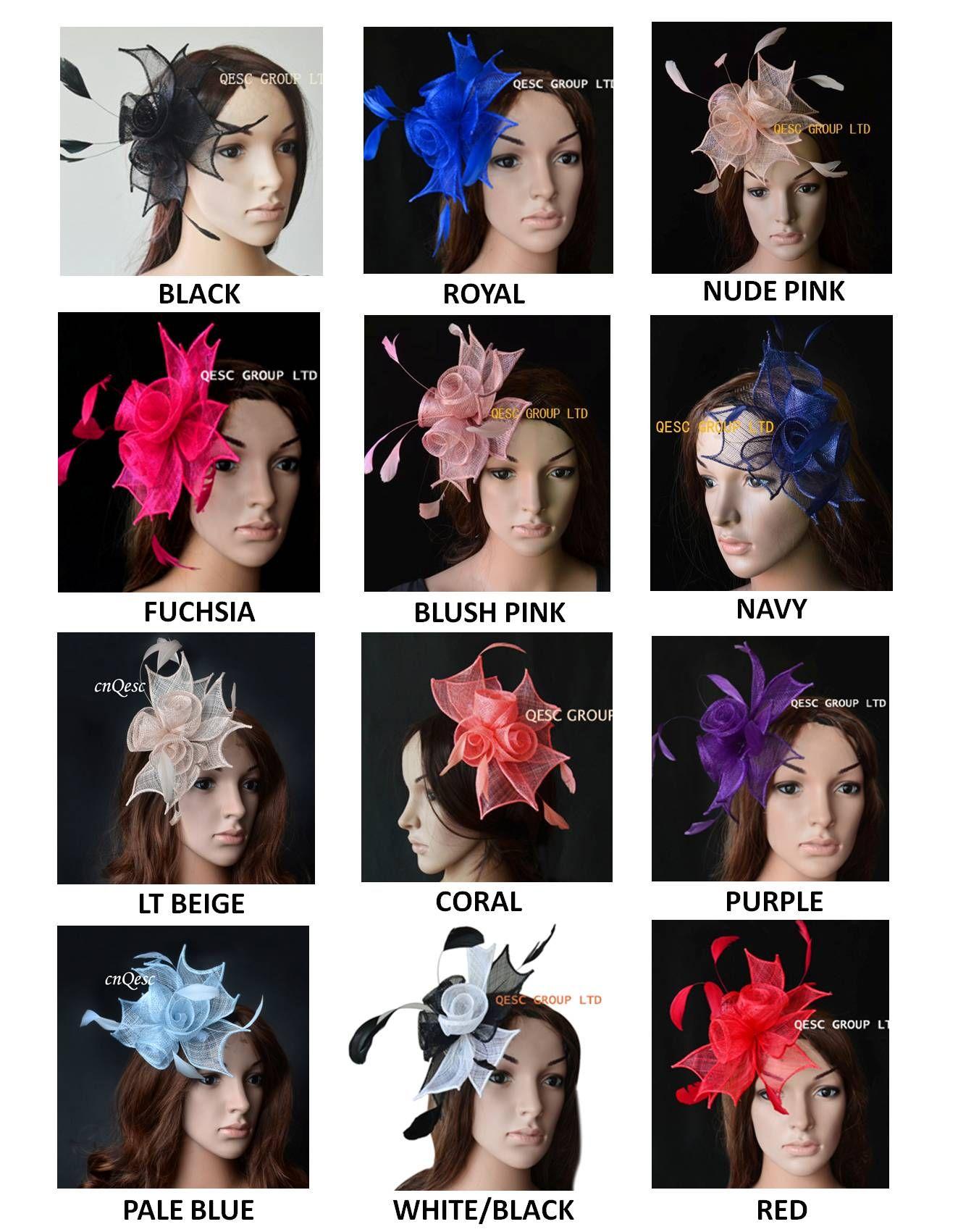12 Colours.Simple ve Zarif Sinamay Fascinators Kentucky Derby, Melbourne Kupası, Düğün, Parti, Yarışlar, Kilise, Düğün