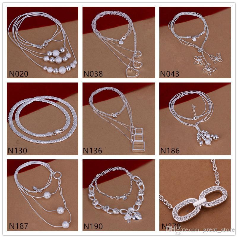 Fabrika doğrudan satış kadın taş gümüş kolye GTP49, moda kelebek inci 925 gümüş kolye 6 adet çok karışık stil