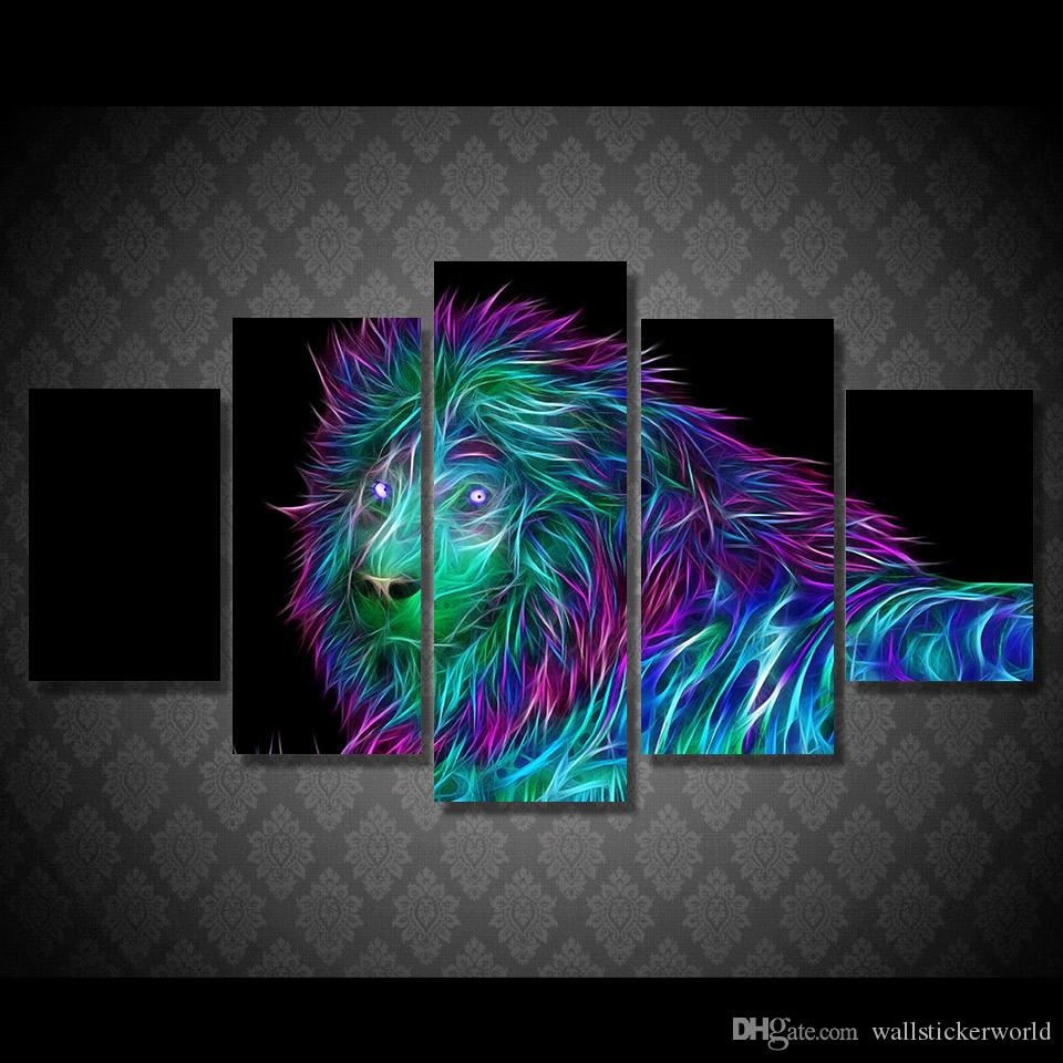 5 Pcs/Set Framed Printed abstract art lion Painting Canvas Print room decor print poster picture canvas Free shipping/ny-4980