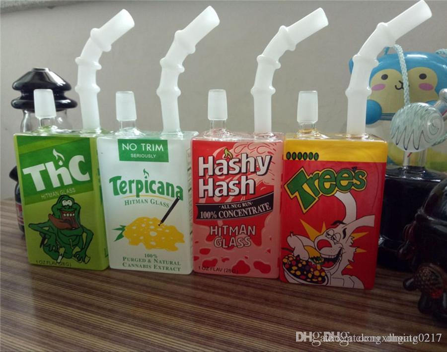 Hitman Liquid Sci Glass Pipas de agua Bongs Juice Glass Caja temática Dab Oil Rig 7.5